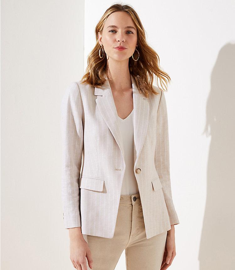 Shimmer Stripe Women's Linen Blend Modern Blazer