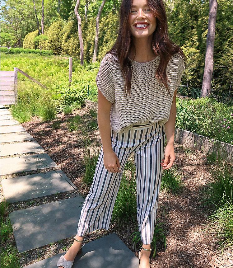 Striped High Waist Wide Leg Crop Pull On Pants