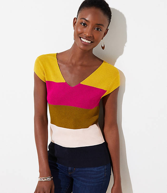 Colorblock Ribbed Cap Sleeve Sweater