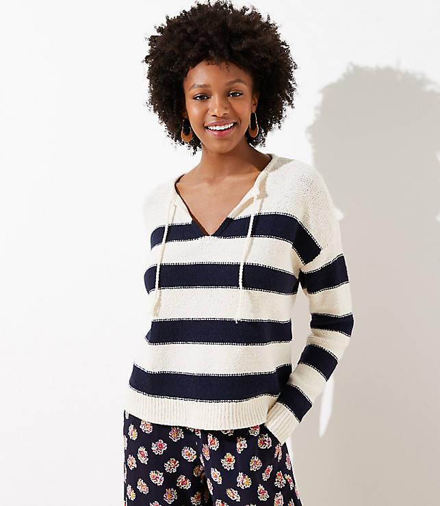 Striped Split Neck Sweater