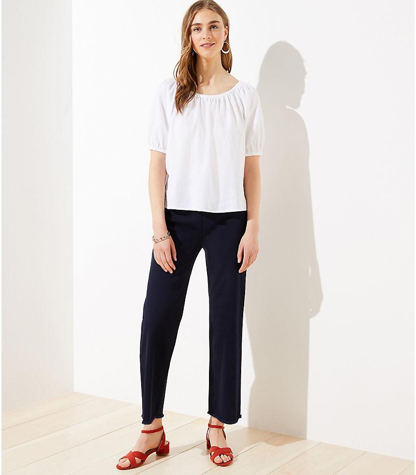 로프트 LOFT Frayed Flare Crop Pants,White