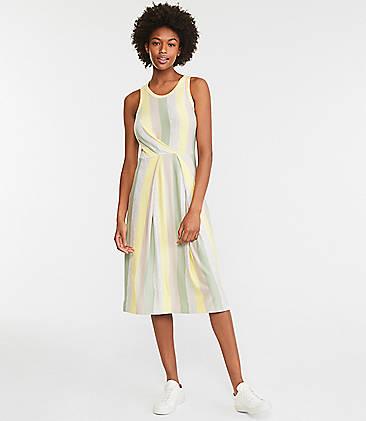 로프트 원피스 LOFT Lou & Grey Stripe Tucked Signature Softblend Lite Midi Dress,Yellow Pear