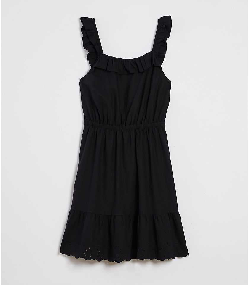 로프트 LOFT Beach Eyelet Tie Back Ruffle Dress,Black