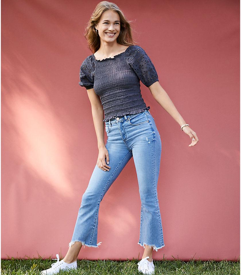 로프트 LOFT Destructed High Waist Slim Pocket Flare Crop Jeans in Indigo Wash,Destructed Indigo Wash