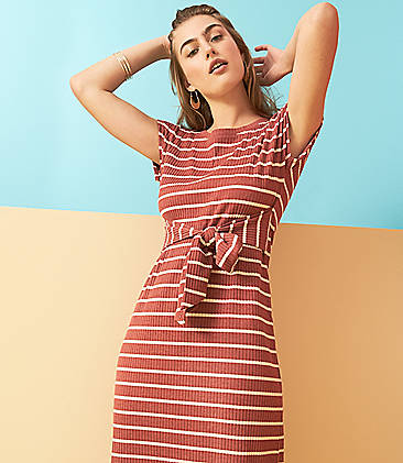 Womens Lace Up Strappy Swing Mini Dress Ladies Casual Stripes Dress T Shirt