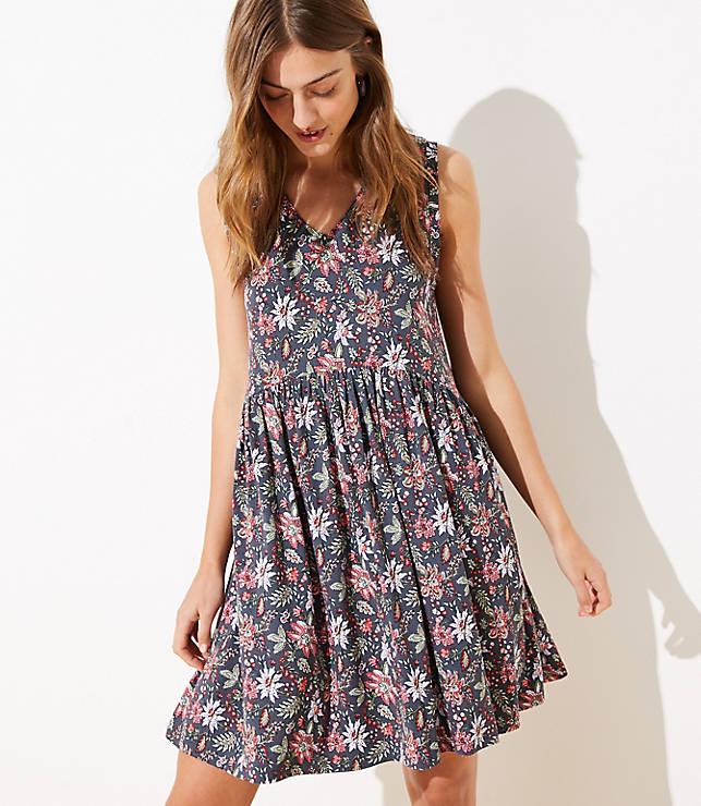 Garden V-Neck Swing Dress