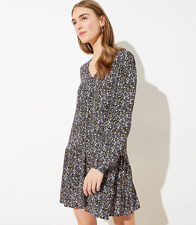Floral Button Flippy Dress