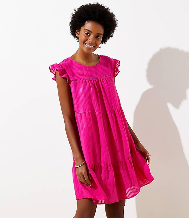 Dobby Tiered Flutter Dress