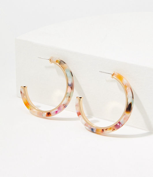A glossy finish takes these essential hoop earrings into modern-chic territory. Goldtone finish. Post back. Loft Rainbow Resin Hoop Earrings