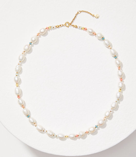 Pretty and pearlized, this necklace is the sweetest finish to any work or weekend look. Spring ring clasp. Loft Pearlized Necklace