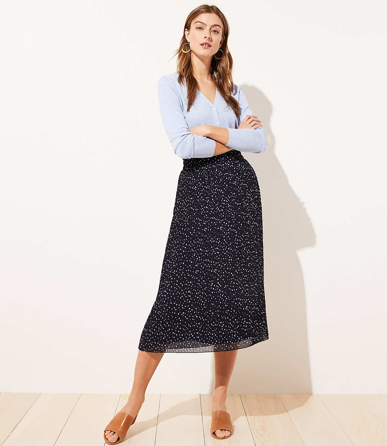 Dotted Pleated Midi Skirt