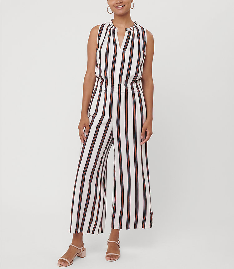 Loft Womens Striped Smocked Jumpsuit