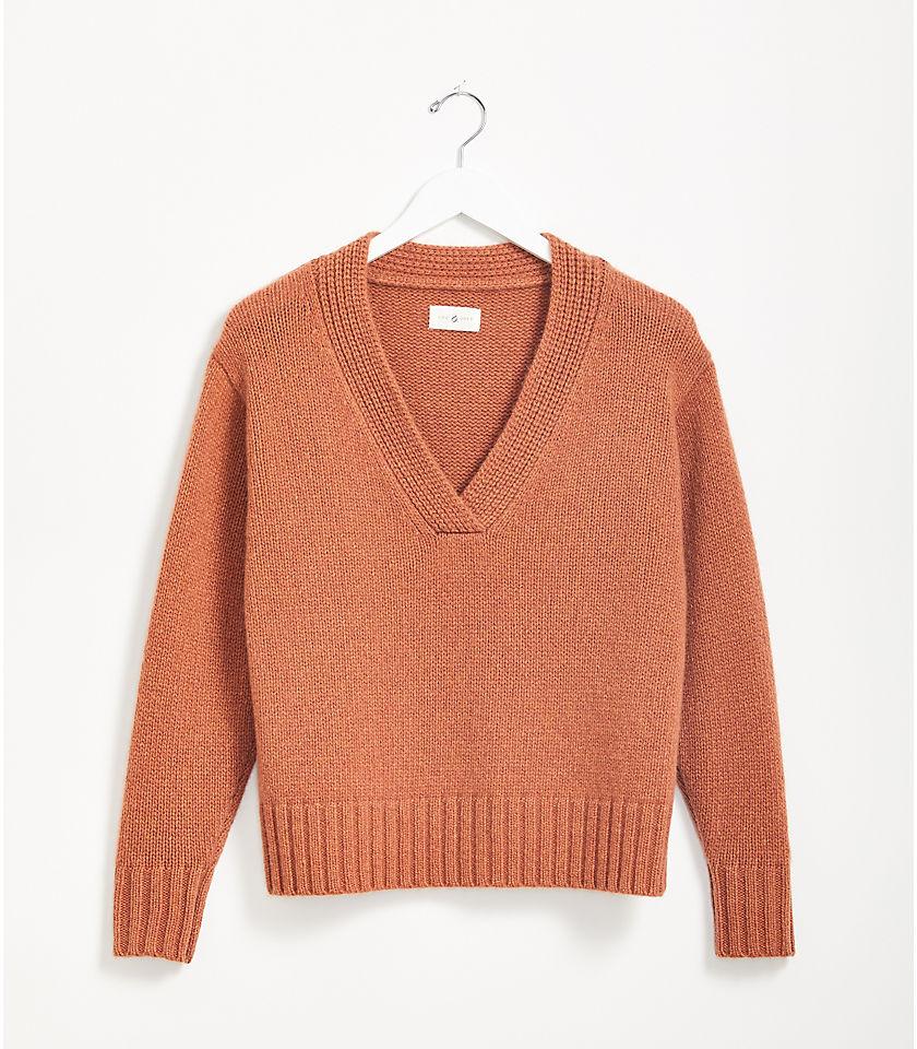로프트 LOFT Lou & Grey Cashmere Ribtrim V-Neck Sweater