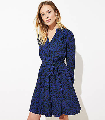 LOFT Leopard Print Flare Dress (Urban Blue)