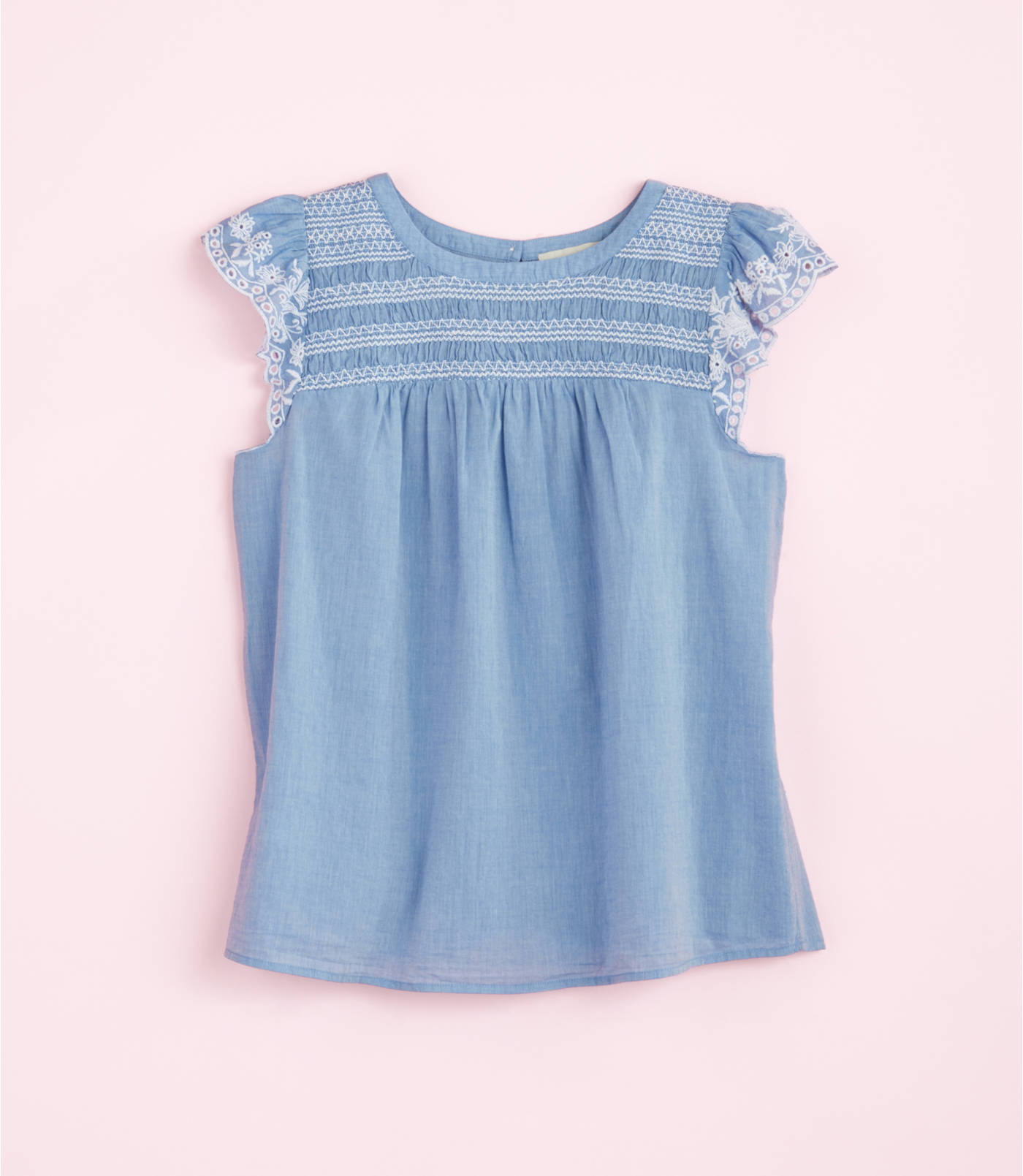 Embroidered Ruffle Sleeve Top- ONLY , Regularly .50! SHOP Loft! See code!