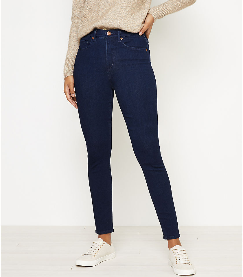 로프트 LOFT High Waist Skinny Jeans in Dark Rinse
