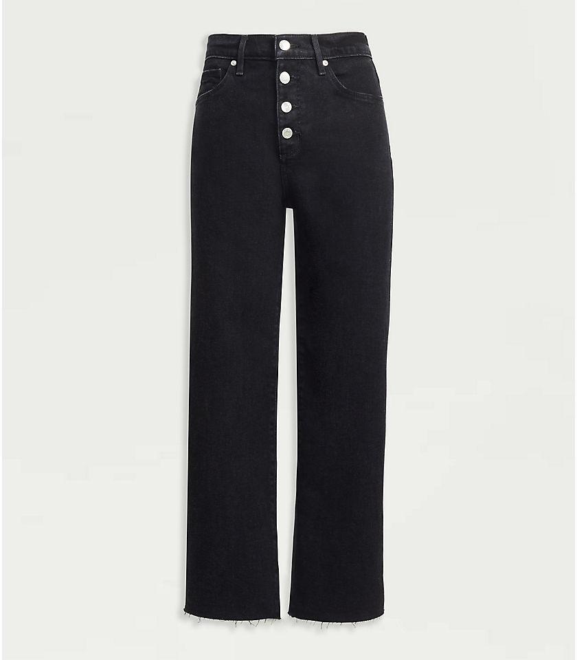 로프트 LOFT High Rise Wide Leg Crop Jeans in Washed Black Wash