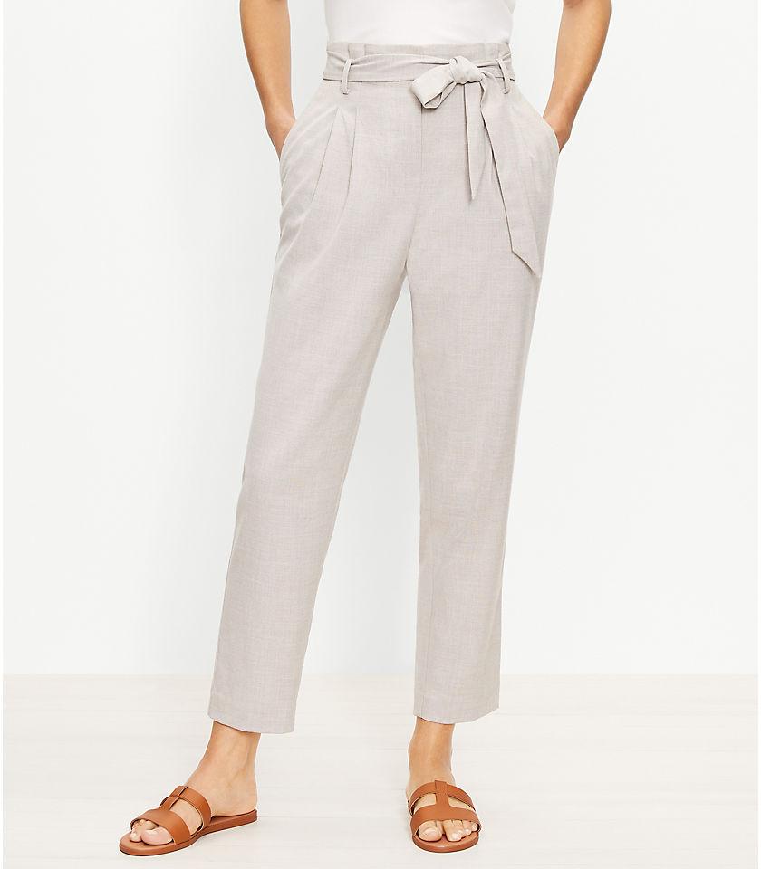 로프트 LOFT Paperbag Pull On Slim Pants,Neutral Multi