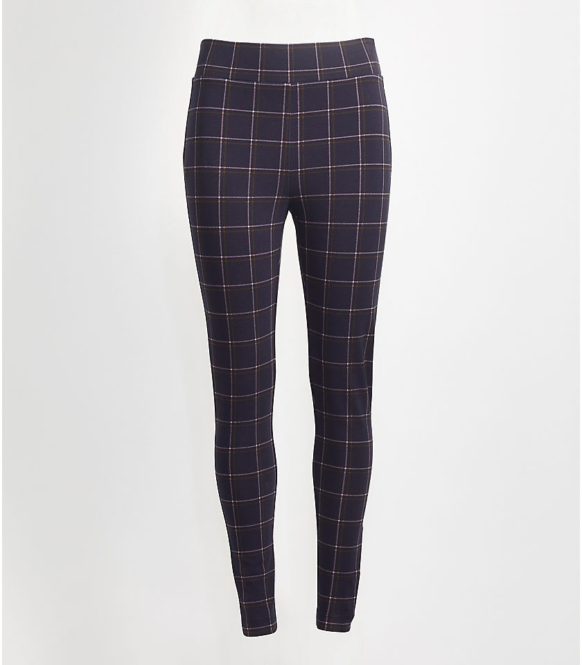 로프트 LOFT Plaid Leggings,Forever Navy