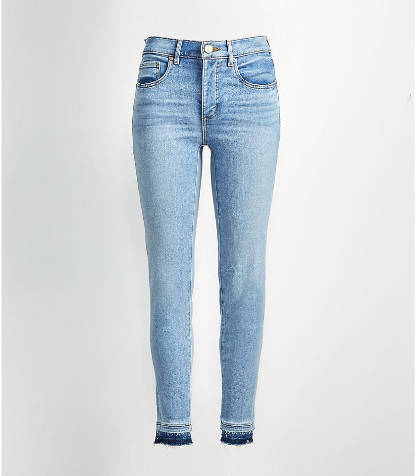 로프트 LOFT Destructed Unpicked Slim Pocket Skinny Crop Jeans in Authentic Stonewash,Authentic Light Indigo Wash