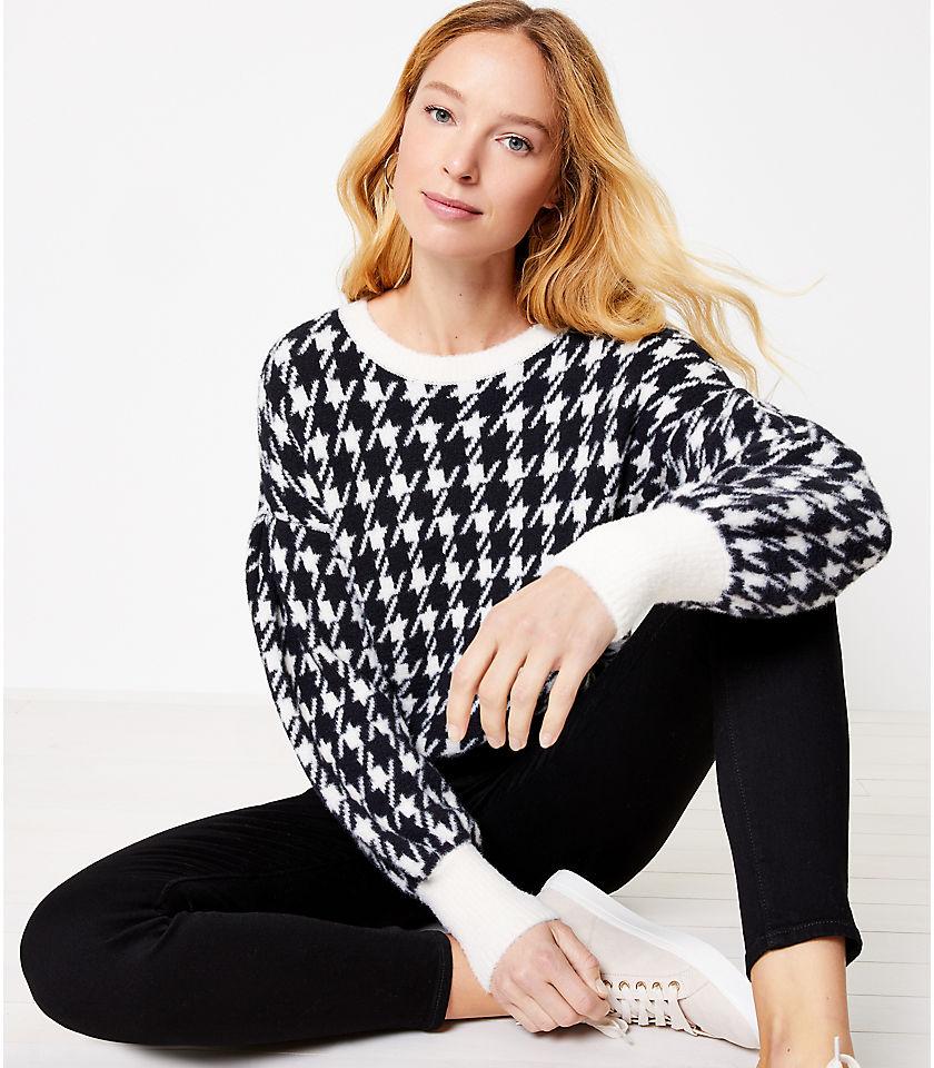 로프트 LOFT Houndstooth Sweater,Black