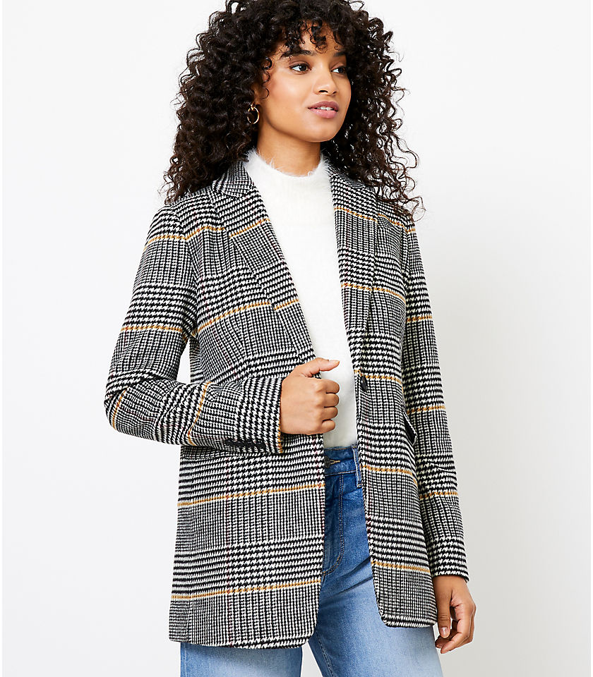 로프트 LOFT Plaid Modern Blazer,Black Multi