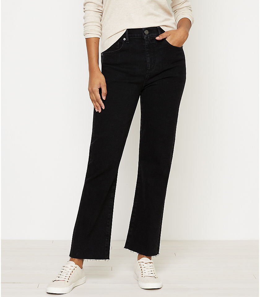 로프트 LOFT High Waist Straight Crop Jeans in Washed Black Wash