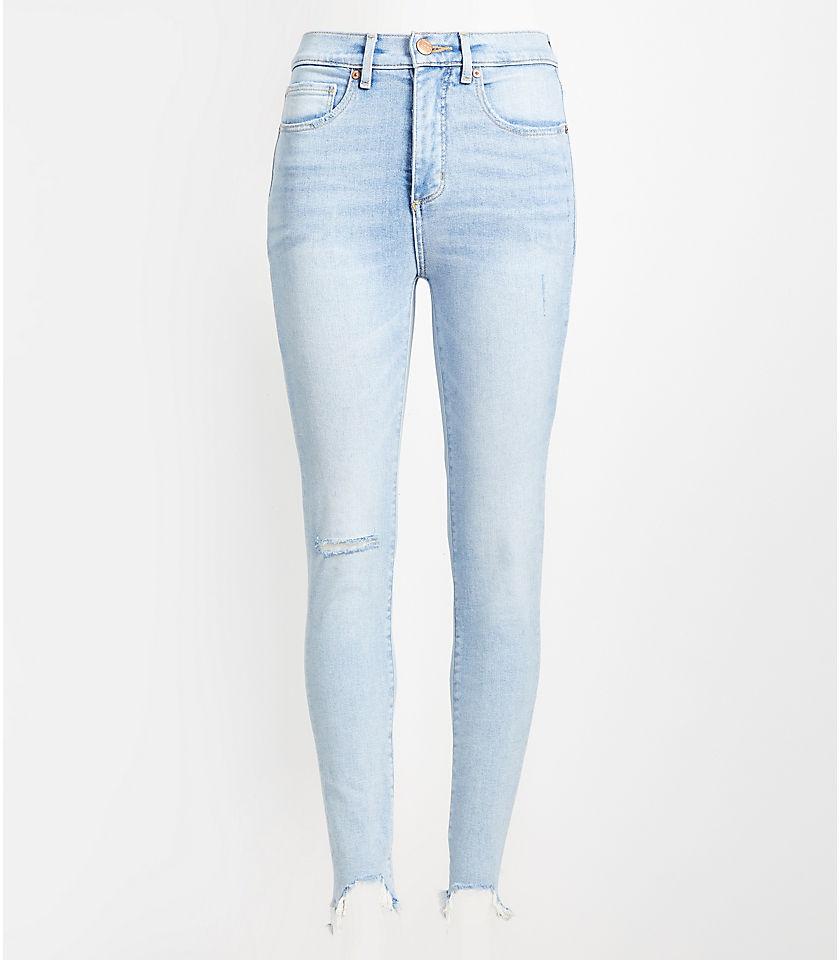 로프트 LOFT High Rise Chewed Hem Skinny Jeans in Classic Light Indigo Wash,Authentic Light Indigo Wash