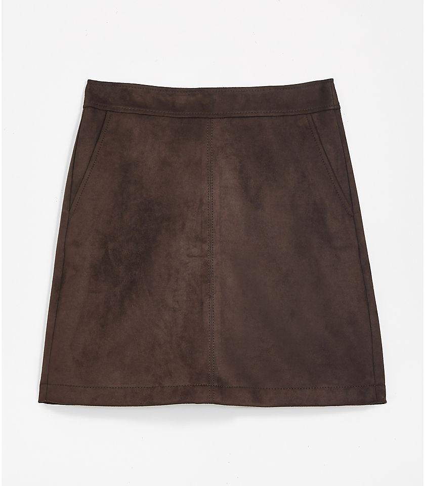 로프트 LOFT Faux Suede Shift Skirt,True Chocolate