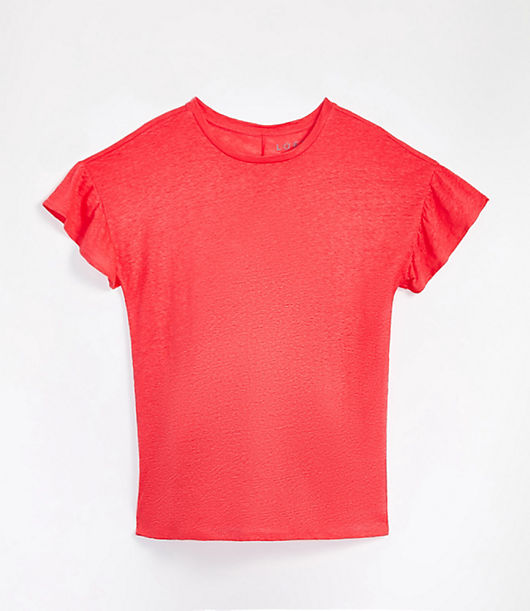 Ruffled sleeves pretty up this easygoing and essential tee. Round neck. Short sleeves. Loft Maternity Ruffle Sleeve Linen Tee