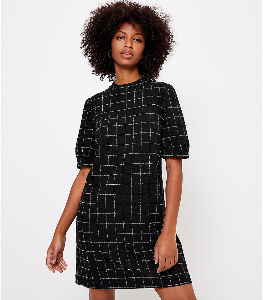 로프트 LOFT Windowpane Puff Sleeve Shift Dress,Black