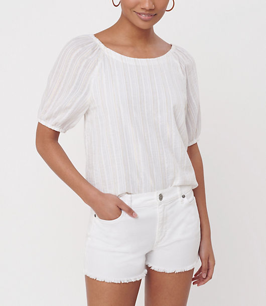 Pretty style doesn\\\'t come easier than this understated top with romantic puffed sleeves. Boatneck. Short sleeves with elasticized shoulders and cuffs. Loft Petite Shimmer Stripe Puff Sleeve Boatneck Top