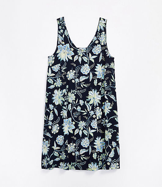 We\\\'re smitten with the effortless swing of this favorite, done in a soft, stretchy knit. V-neck. Sleeveless. Cutout back with button closures. Loft Trellis Garden Cutout Back Swing Dress