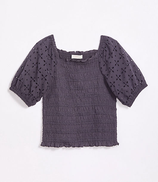 This stretchy smocked top boasts romantic eyelet puffed sleeves for a flattering silhouette with a touch of boho beauty. Square neck. Short sleeves with elasticized shoulders and cuffs. Loft Petite Eyelet Smocked Puff Sleeve Top