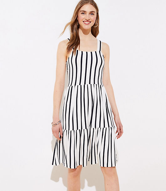From its flattering square neck to its romantic tiers, this dress cuts quite the pretty silhouette. Square neck. Wide straps. Side zip. Loft Striped Tiered Square Neck Dress