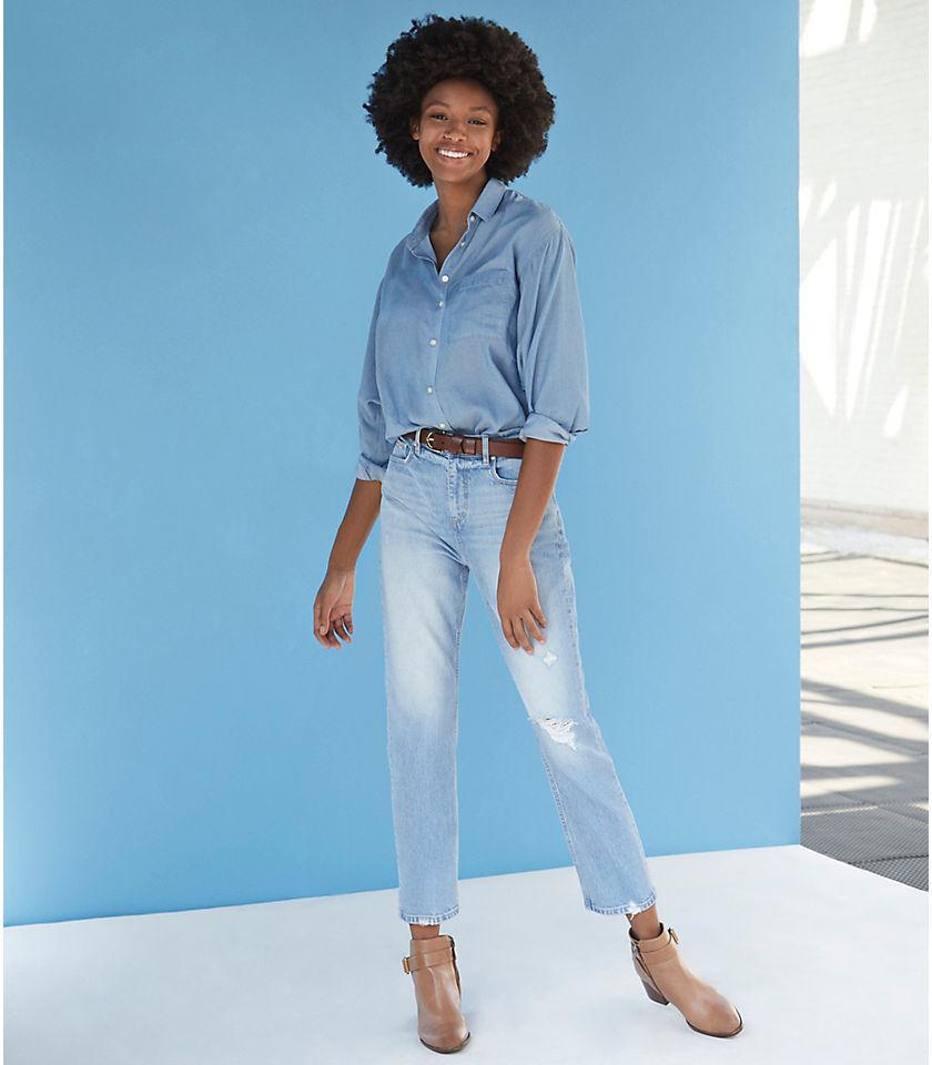 로프트 LOFT Destructed High Rise Straight Crop Jeans,Light Indigo Wash