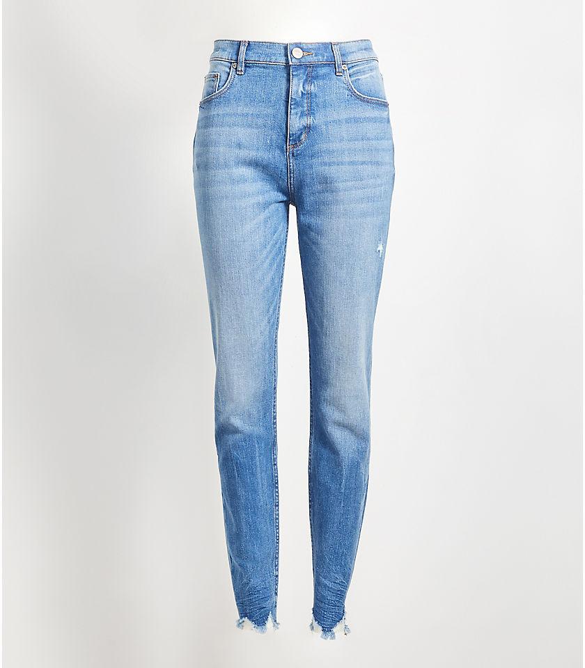 로프트 LOFT High Rise Chewed Hem Skinny Jeans in Vintage Wash