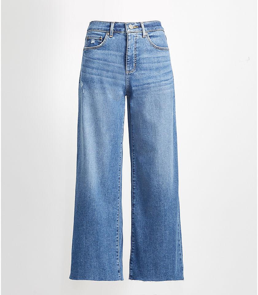 로프트 LOFT High Rise Wide Leg Crop Jeans in Pure Light Indigo Wash