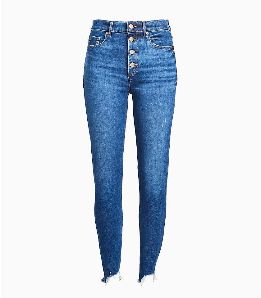 로프트 LOFT High Rise Button Front Chewed Hem Skinny Jeans in Rich Authentic Indigo Wash