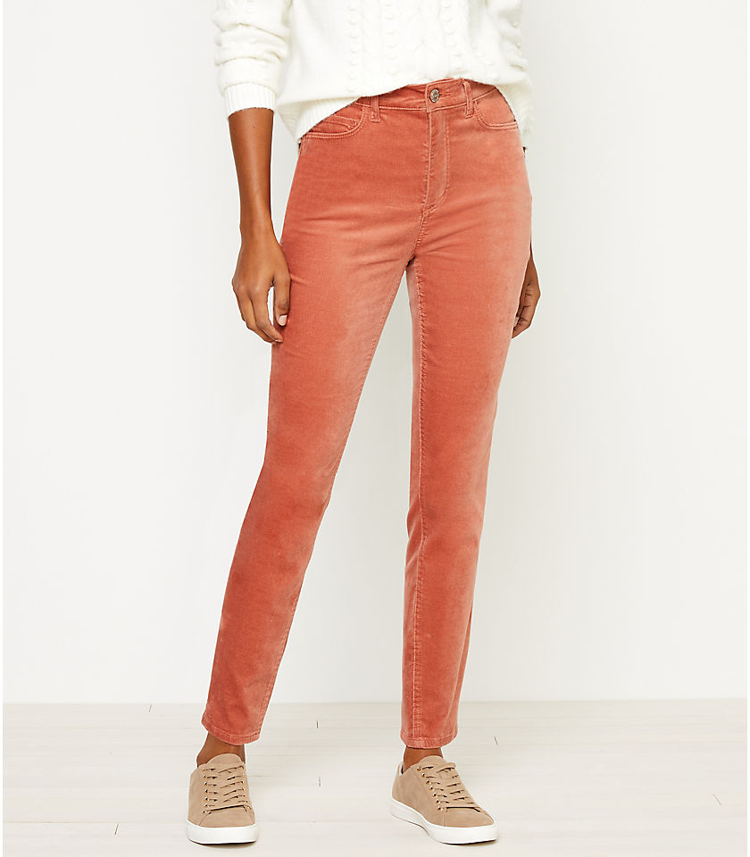 로프트 LOFT High Rise Skinny Velvet Pants,Rosy Peach