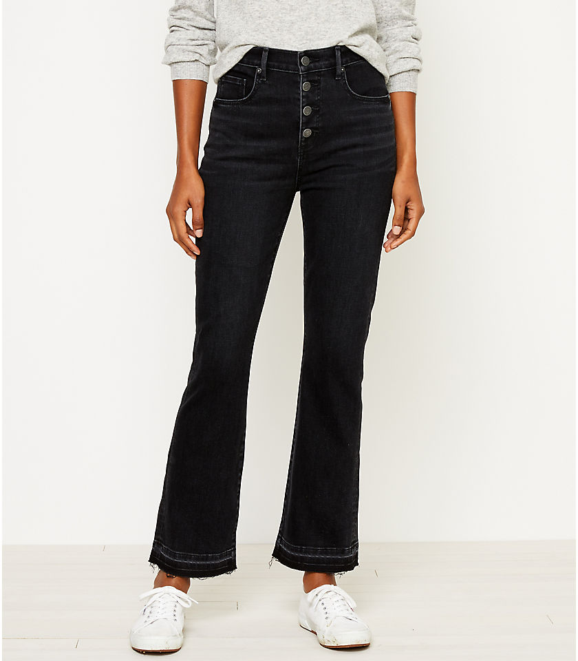 로프트 LOFT High Rise Flare Crop Jeans in Washed Black Wash