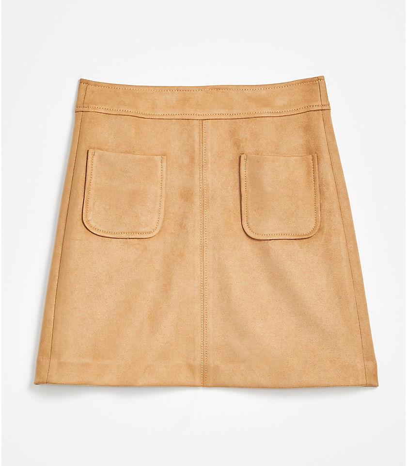로프트 LOFT Faux Suede Pocket Shift Skirt,Pale Camel