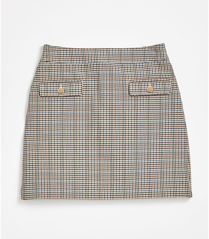 로프트 LOFT Checked Pocket Shift Skirt,Irish Cream