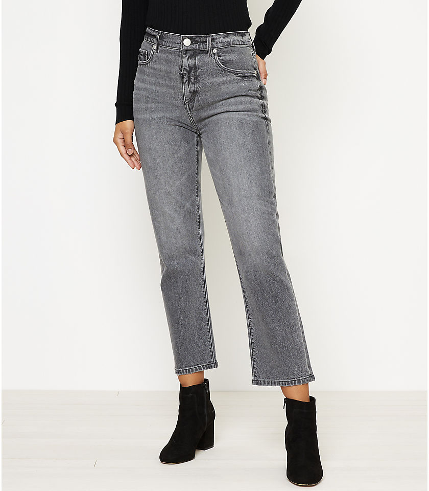 로프트 LOFT High Rise Straight Crop Jeans in Silver Grey Wash