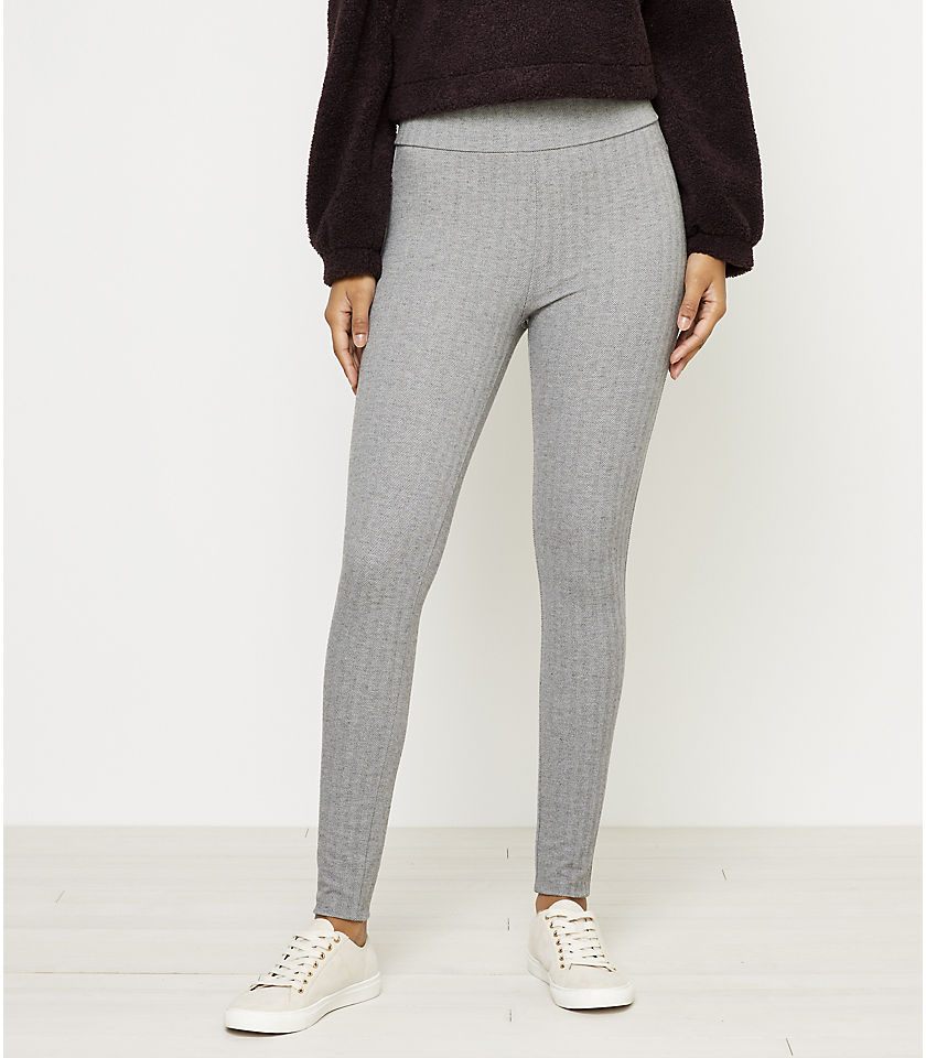 로프트 LOFT Herringbone Leggings,Light Grey