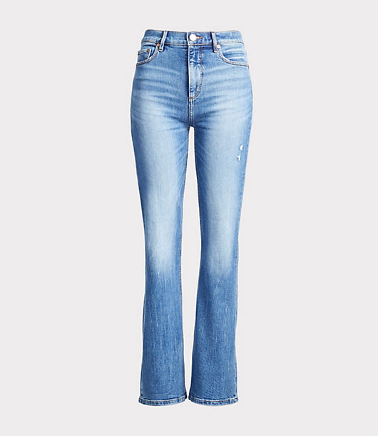 Expertly designed with premium mills to smooth, lift, fit and flatter in all the right places, our denim is so soft and stretchy you\\\'ll never want to take it off. Front zip with button closure. Belt loops. Five-pocket styling. Loft Petite High Waist Slim Flare Jeans in Medium Light Authentic Indigo Wash