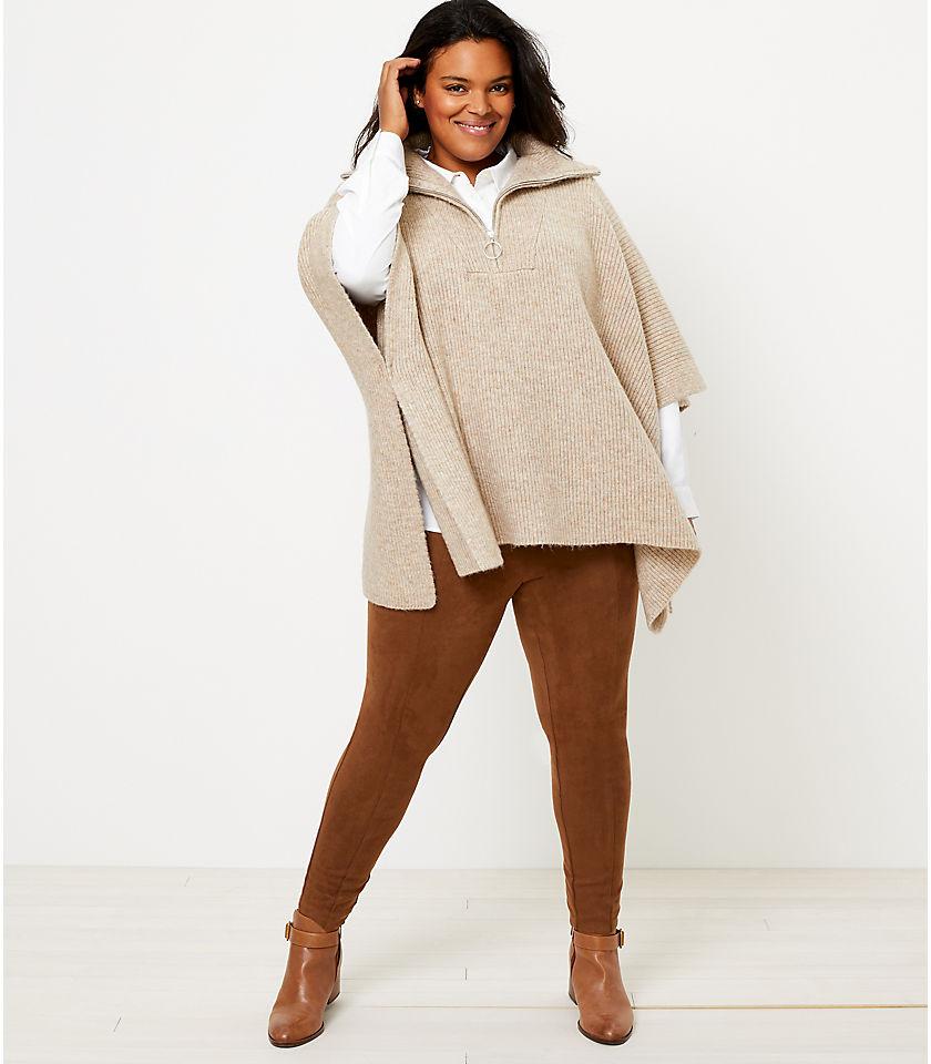 로프트 LOFT Zip Poncho Sweater,Spicy Clove