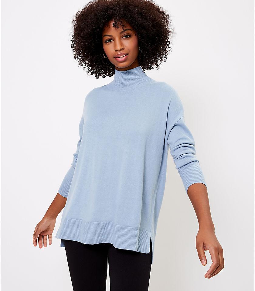로프트 LOFT Hi-Lo Tunic Sweater,Hazy Skies