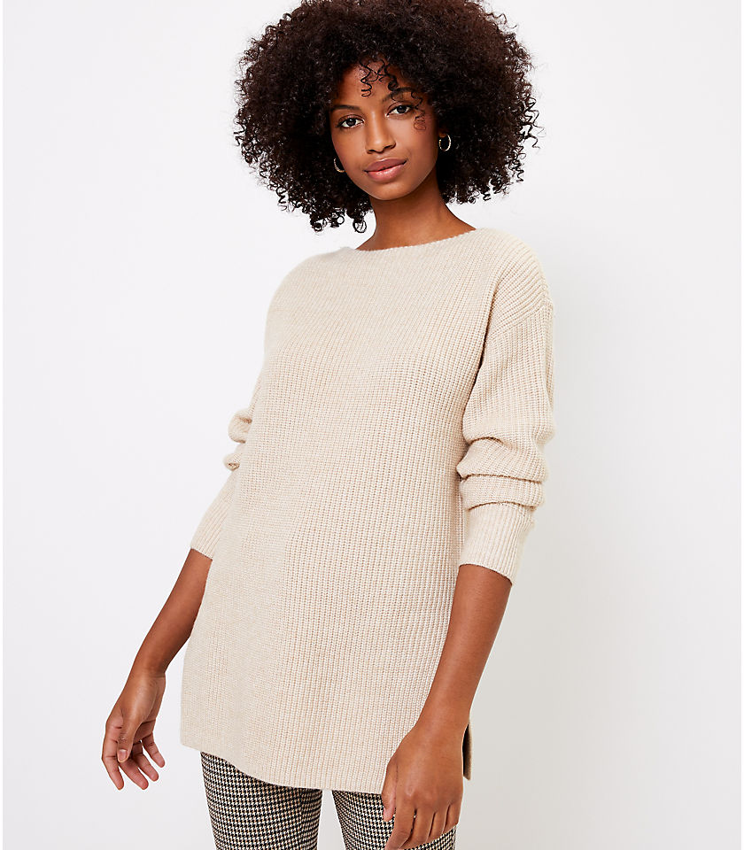 로프트 LOFT Ribbed Boatneck Tunic Sweater,Walnut Tan