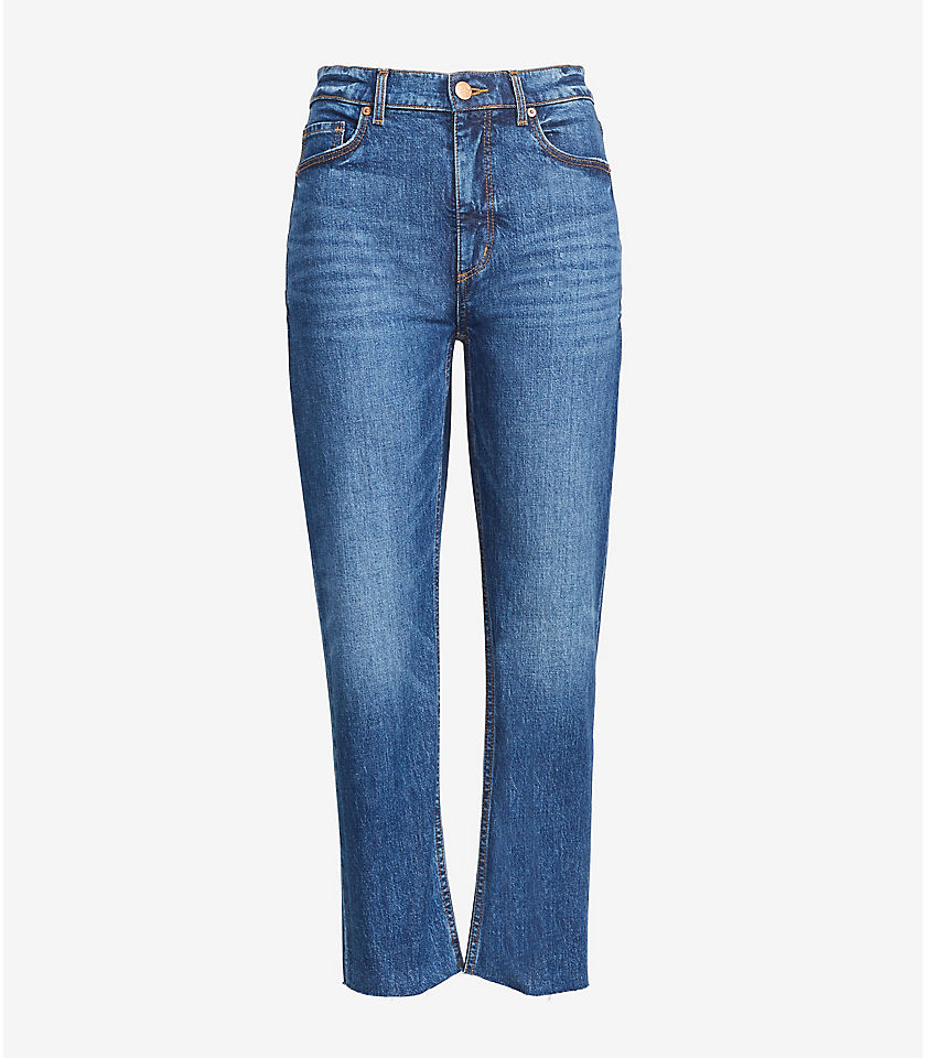 로프트 LOFT High Rise Straight Crop Jeans in Authentic Dark Indigo Wash,Authentic Dark Wash